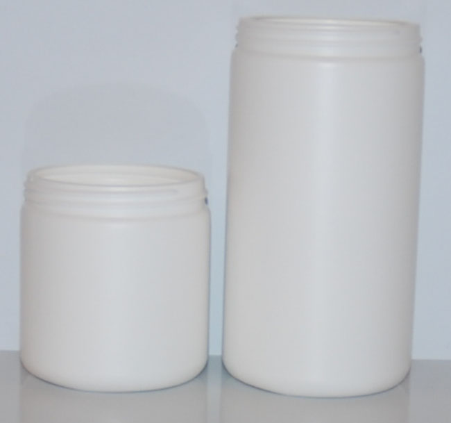 white HDPE single wall jars